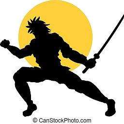 sol, ilustração, samurai