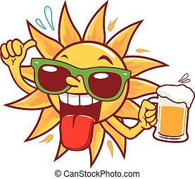 sol, ilustração, vetorial, beer., bebendo, caricatura