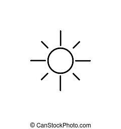 sol, ilustração, vetorial, experiência preta, icon., branca
