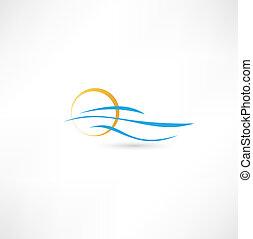 sol, ilustração, vetorial, levantar, mar, ondas