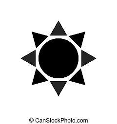 sol, ilustração, vetorial, pretas, modelo, logotipo, branca, ícone
