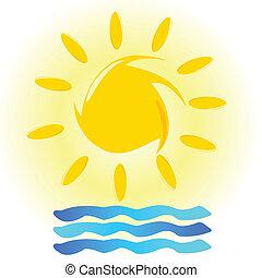 sol, ilustración, mar
