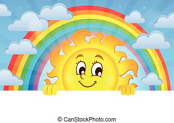 sol, imagem, 3, tema, espreitando, feliz