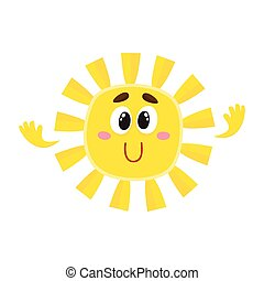 sol, isolado, ilustração, vetorial, grande, sorrindo, olhos, caricatura