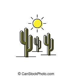 sol, isolado, vetorial, fundo, branca, cacto, ícone