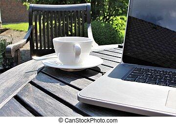 sol, kaffe, laptop, avbild