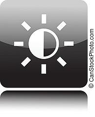 sol, knapp, svart, ikon