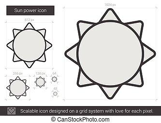 sol, línea, icon., potencia