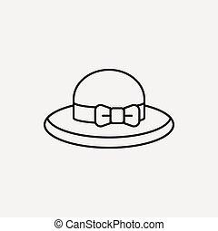 sol, línea, sombrero, icono