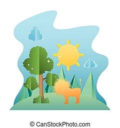 sol, leão, macho, paisagem árvore