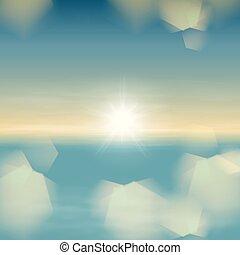 sol, lente, luminoso, pôr do sol, mar, luz