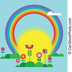 sol, levantar, arco íris