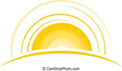 sol, levantar, ilustração
