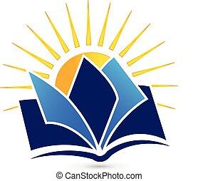sol, libro, logotipo
