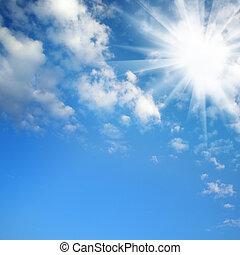 sol, ligado, céu azul
