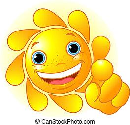 sol, lindo, señalar