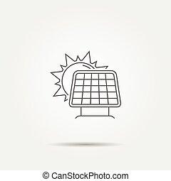 sol, linha, ícone, painel solar
