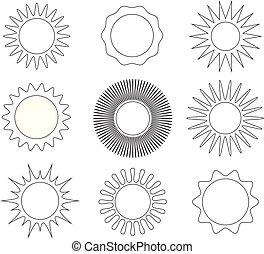 sol, linha, magra, ícones