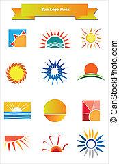 sol, logotipo, pacote
