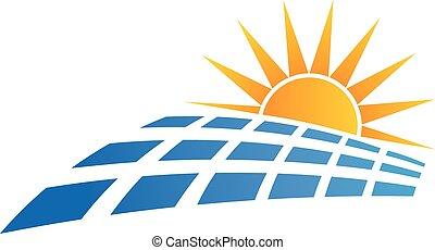 sol, logotipo, painel, solar