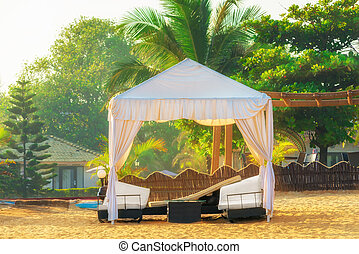 sol, loungers., tinted., toldo, praia, vazio