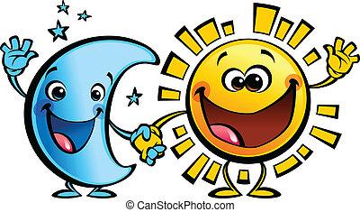 sol, lua, caráteres, bebê, amigos, caricatura, melhor