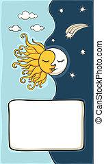 sol, lua, fundo