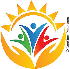 sol, mãos, trabalho equipe, logotipo