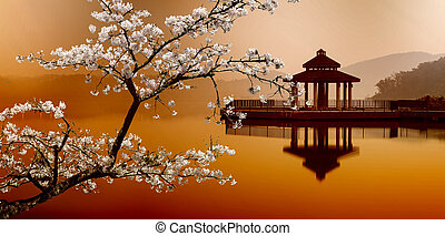 sol, måne, sø, taiwan