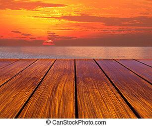 sol, madera, terraza, perspectiva