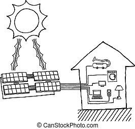 sol makt, grafisk, /, billig, energi, arbete, diagram