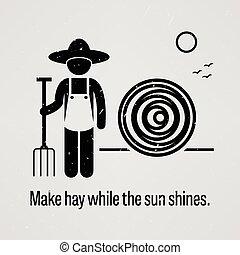 sol, marca, mientras, shines, heno
