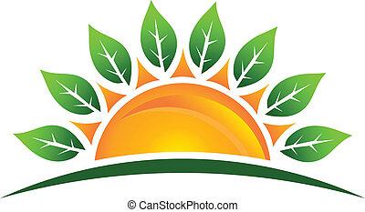 sol, med, bladen, avbild, logo
