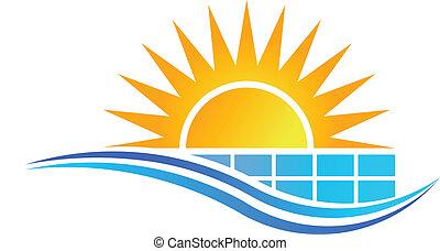 sol, med, solar panel, logo, vektor