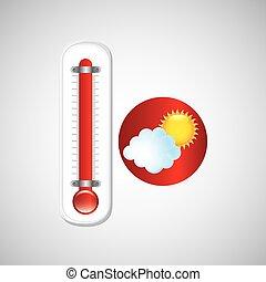Blå, indikator, sol, snowflake., vektor, termometer, väder