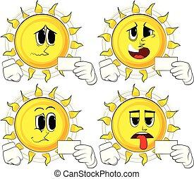 sol, mockup., segurando, em branco, branca, caricatura, cartão