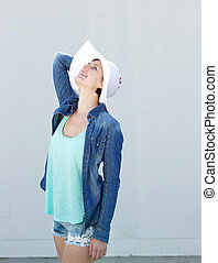 sol, modelo, moda, sombrero, hembra