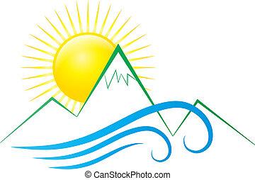 sol, montanhas, e, ondas