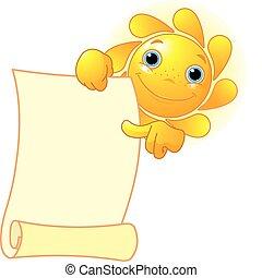 sol, mostra, um, scroll