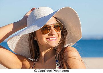 sol, mujer, sombrero, vacaciones, glasses.