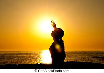 sol, mulher, silueta
