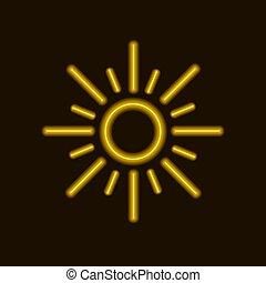 sol, néon, amarela, vetorial, sun., ícone, brilhar