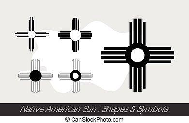 sol, nativo, símbolos, norteamericano