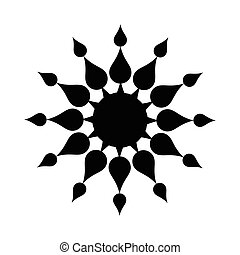 sol, negro, simple, icono