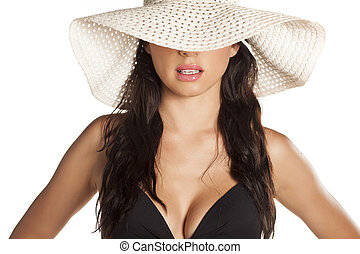 sol, niña, sombrero
