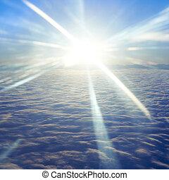 sol, nubes, cielo de puesta de sol