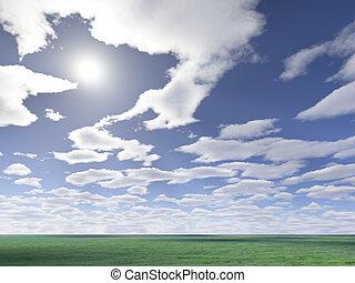 sol, nubes