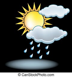 sol, nuvem chuva, ícone