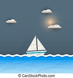 sol, nuvens, bote, velejando