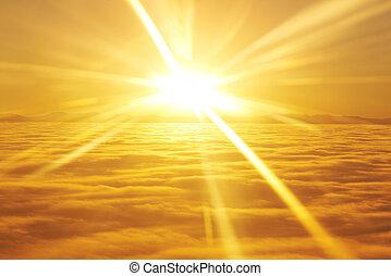 sol, nuvens, céu ocaso